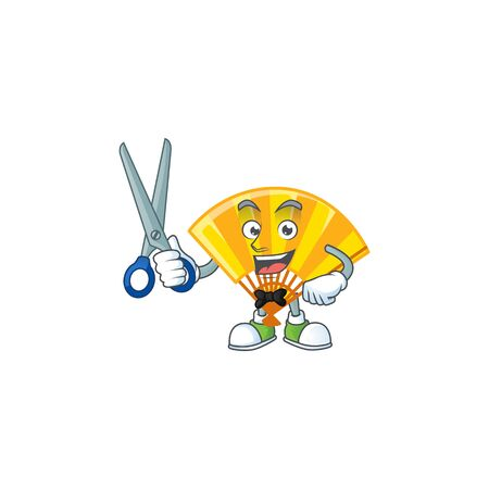 Cool friendly barber gold chinese folding fan cartoon character style. Vector illustration 向量圖像