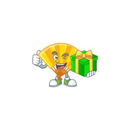 Smiley gold chinese folding fan character with gift box. Vector illustration
