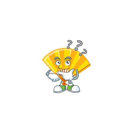 Gold chinese folding fan cartoon mascot style with confuse gesture. Vector illustration