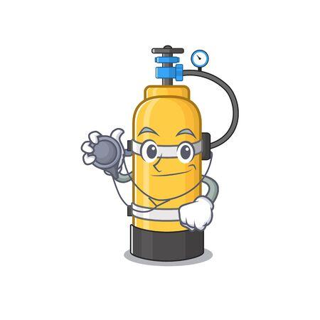 Intelligente und coole Sauerstoffflaschen-Cartoon-Figur in einem Arzt mit Werkzeugen. Vektor-Illustration Vektorgrafik