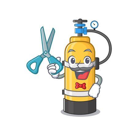 Smiley Funny Barber oxygen cylinder cartoon character design style. Vector illustration