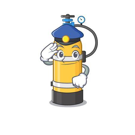 Cilindro de oxígeno Mascota de dibujos animados realizada como oficial de policía. Ilustración vectorial
