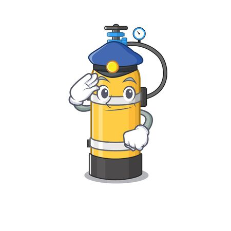 Oxygen cylinder Cartoon mascot performed as a Police officer. Vector illustration