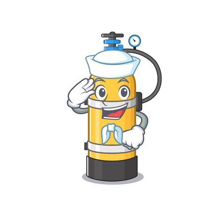 A mascot design of oxygen cylinder Sailor wearing hat. Vector illustration