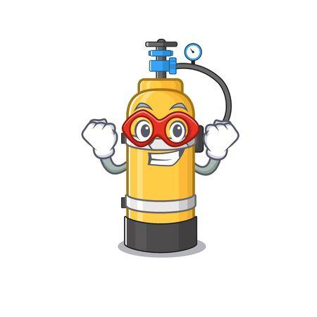 Mascota sonriente de cilindro de oxígeno vestida como un superhéroe. Ilustración vectorial