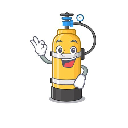 Une photo d'une bouteille d'oxygène faisant un geste OK. Illustration vectorielle