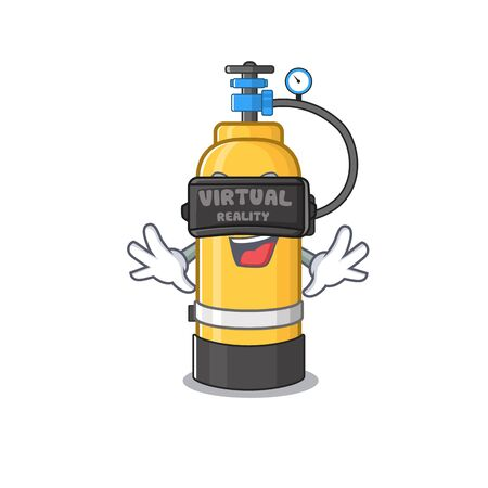 Trendy oxygen cylinder character wearing Virtual reality headset. Vector illustration