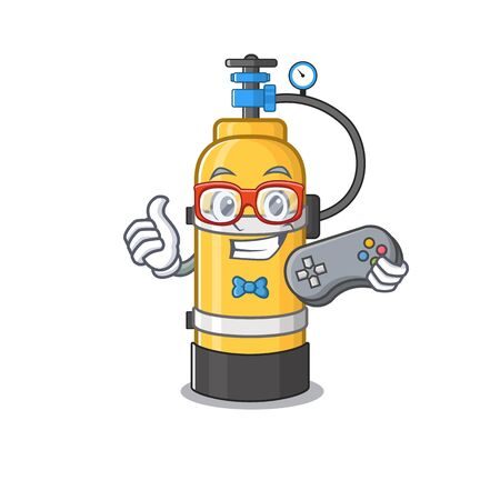 Smiley gamer oxygen cylinder cartoon mascot style. Vector illustration