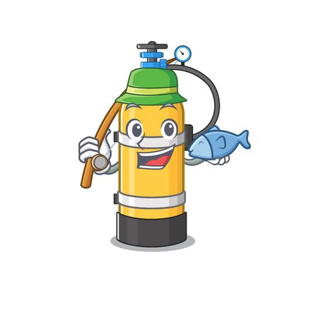 A Picture of happy Fishing oxygen cylinder design. Vector illustration Иллюстрация