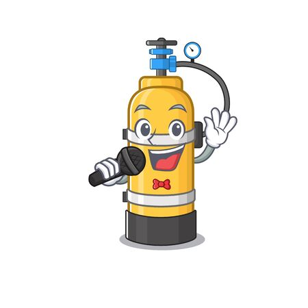 Happy oxygen cylinder singing on a microphone. Vector illustration