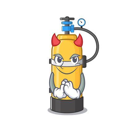 Devil oxygen cylinder Cartoon in character design. Vector illustration
