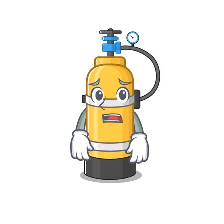 A picture of oxygen cylinder showing afraid look face. Vector illustration Иллюстрация