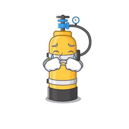 Sad of oxygen cylinder cartoon mascot style. Vector illustration Иллюстрация