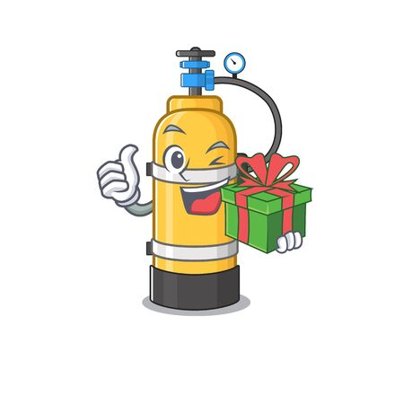 Smiley oxygen cylinder character with gift box. Vector illustration
