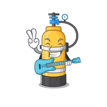 A mascot of oxygen cylinder performance with guitar. Vector illustration
