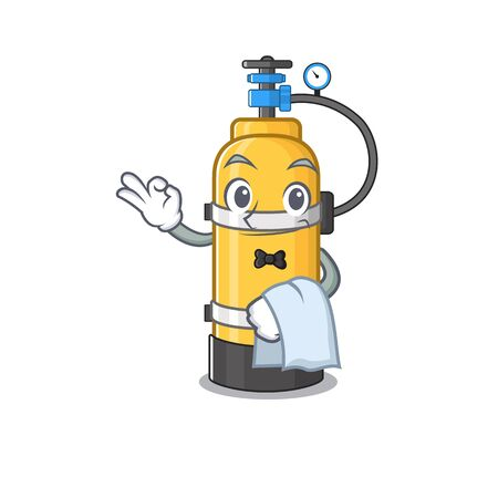 Friendly oxygen cylinder Character stand as a Waiter character. Vector illustration