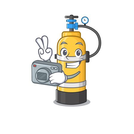 Cool Photographer oxygen cylinder character with a camera. Vector illustration