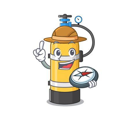 Oxygen cylinder stylized Explorer having a compass. Vector illustration