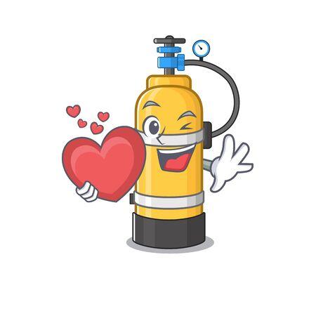 Personaggio dei cartoni animati della bombola di ossigeno del fronte divertente che tiene un cuore Illustrazione vettoriale