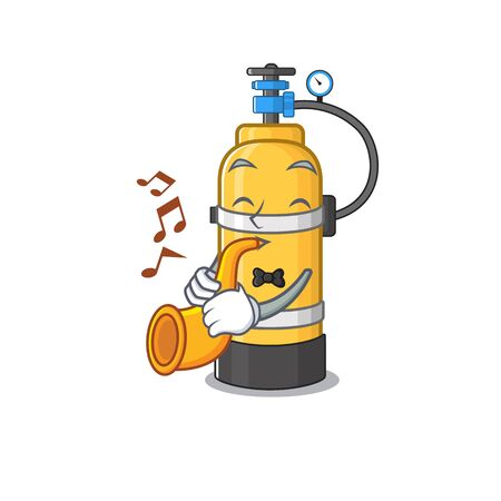 cartoon character style of oxygen cylinder performance with trumpet. Vector illustration Иллюстрация