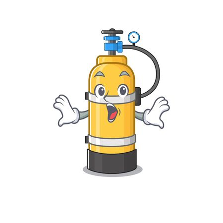 Oxygen cylinder cartoon character design on a surprised gesture. Vector illustration