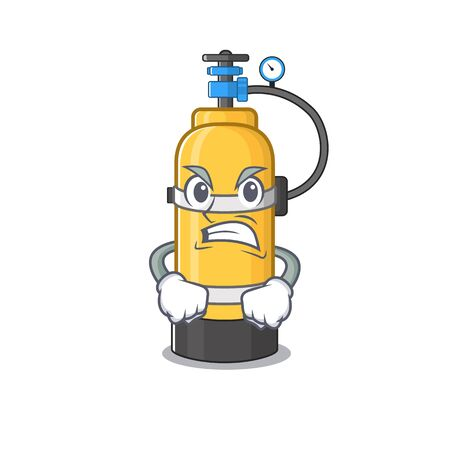 Oxygen cylinder cartoon character design having angry face. Vector illustration
