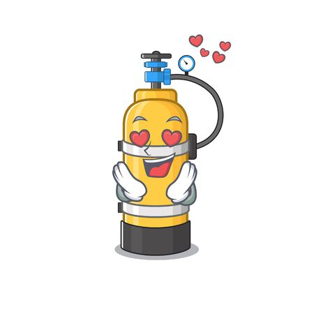 falling in love cute oxygen cylinder cartoon character design. Vector illustration