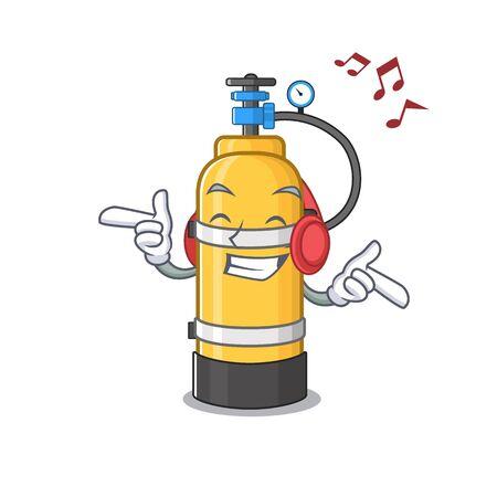 Listening music oxygen cylinder mascot cartoon character design. Vector illustration Иллюстрация