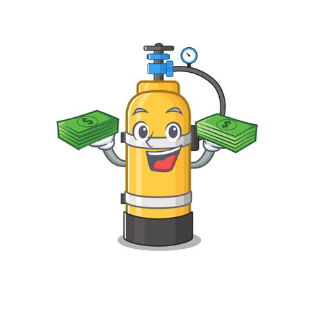 happy rich oxygen cylinder character with money on hands. Vector illustration