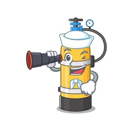 Dibujos animados de cilindro de oxígeno feliz estilo marinero con binoculares. Ilustración vectorial