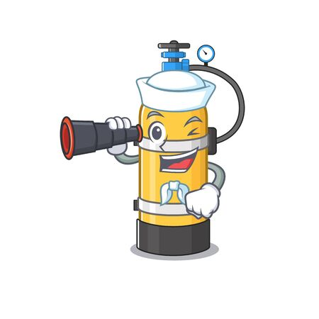 Oxygen cylinder cartoon happy Sailor style with binocular. Vector illustration