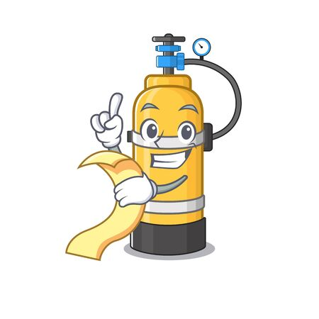 A funny cartoon character of oxygen cylinder with a menu. Vector illustration