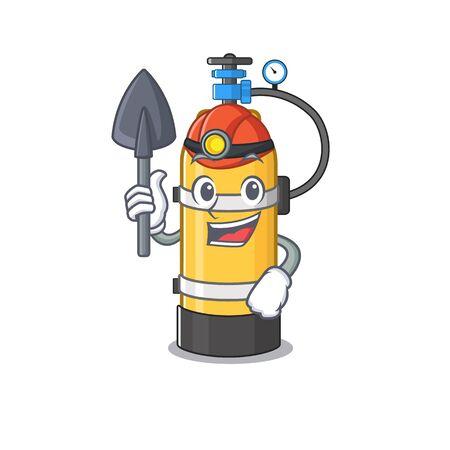 Cool clever Miner oxygen cylinder cartoon character design. Vector illustration Stock Illustratie