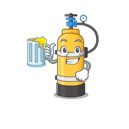 Happy oxygen cylinder mascot design with a big glass. Vector illustration