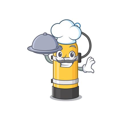 cartoon design of oxygen cylinder as a Chef having food on tray. Vector illustration