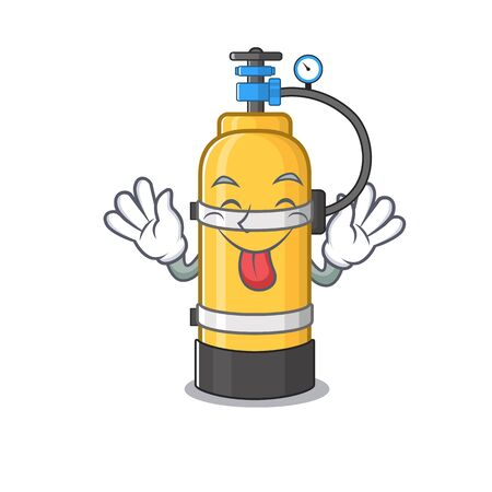 Cute oxygen cylinder cartoon mascot style with Tongue out. Vector illustration