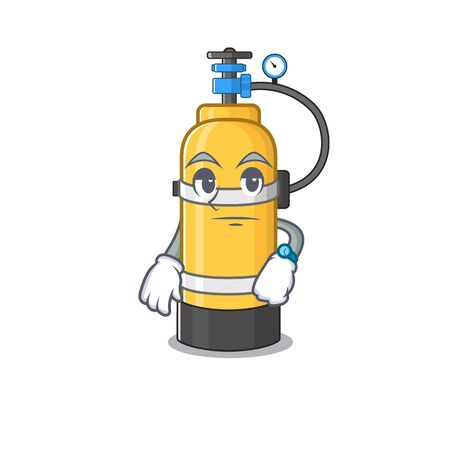 cartoon character design of oxygen cylinder on a waiting gesture. Vector illustration Иллюстрация