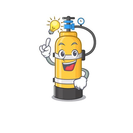 Have an idea gesture of oxygen cylinder cartoon character design. Vector illustration