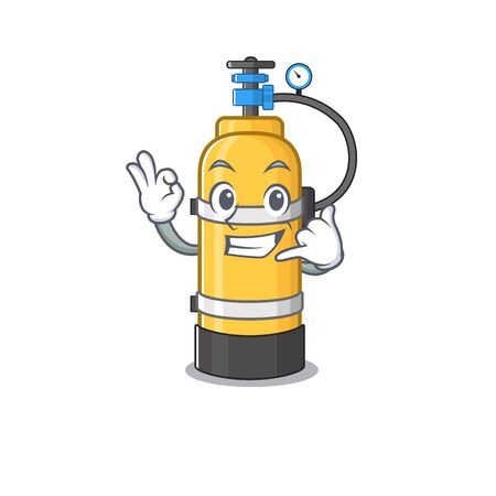 Call me funny oxygen cylinder mascot picture style. Vector illustration