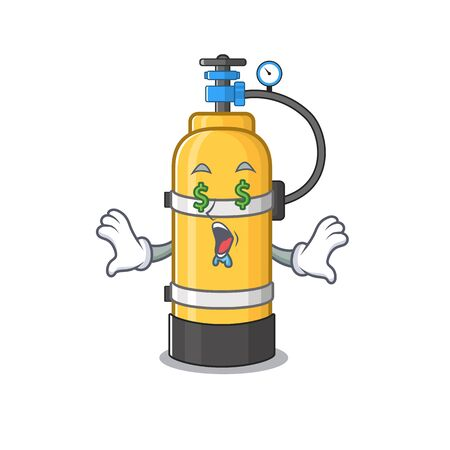 Happy rich oxygen cylinder with Money eye cartoon character style. Vector illustration