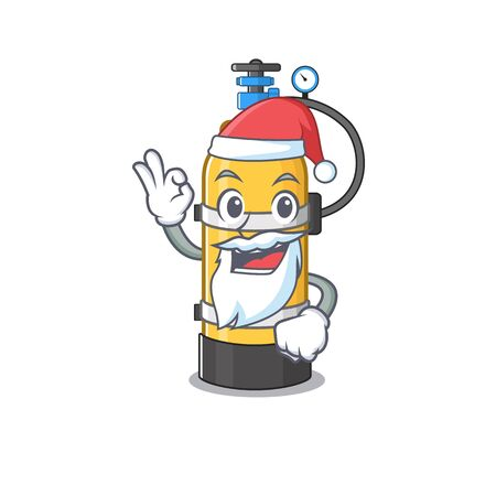 A picture of Santa oxygen cylinder mascot picture style with ok finger. Vector illustration Иллюстрация