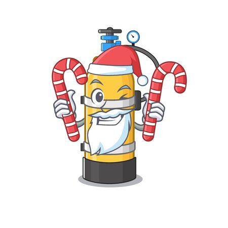Oxygen cylinder Cartoon character in Santa costume with candy. Vector illustration