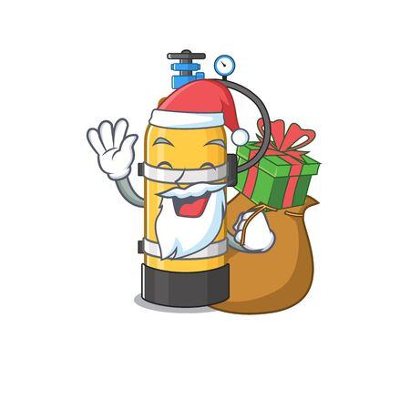 Santa oxygen cylinder Cartoon character design having box of gift. Vector illustration Иллюстрация