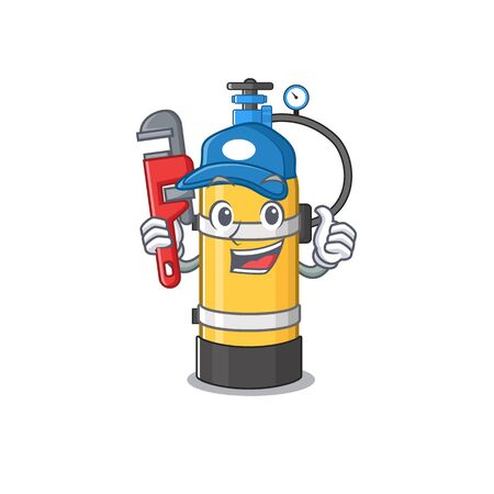 Cool Plumber oxygen cylinder on mascot picture style. Vector illustration