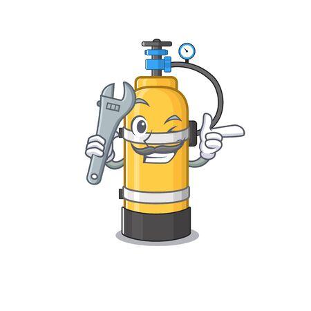 Smart Mechanic oxygen cylinder cartoon character design. Vector illustration