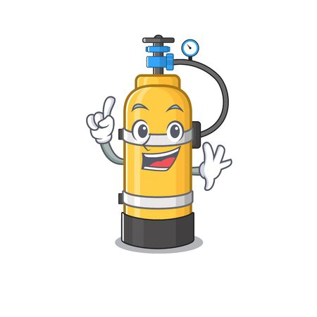 One Finger oxygen cylinder in mascot cartoon character style. Vector illustration