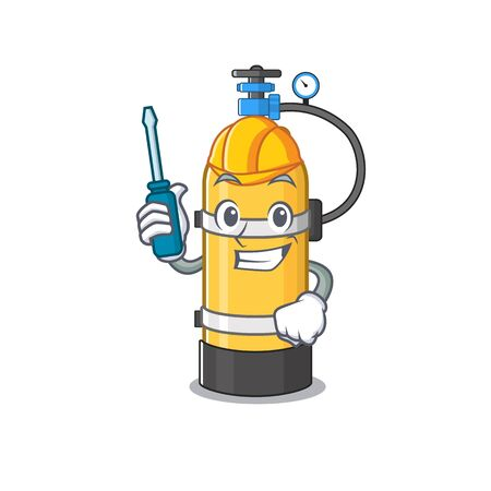 Cool automotive oxygen cylinder in cartoon character style. Vector illustration Иллюстрация