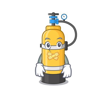 a silent gesture of oxygen cylinder mascot cartoon character design. Vector illustration