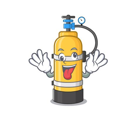 Oxygen cylinder Cartoon character style with a crazy face. Vector illustration