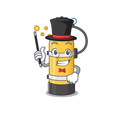 A picture of oxygen cylinder performance as a Magician. Vector illustration